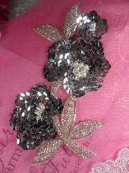 """FS1586  Pearl Floral Silver Beaded Sequin Applique 6"""""""