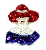 Lady w/Hat Sequin Beaded Applique  E5840