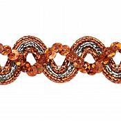 E6962 Orange Silver Metallic Braid Sequin Sewing Craft Trim 5/8""