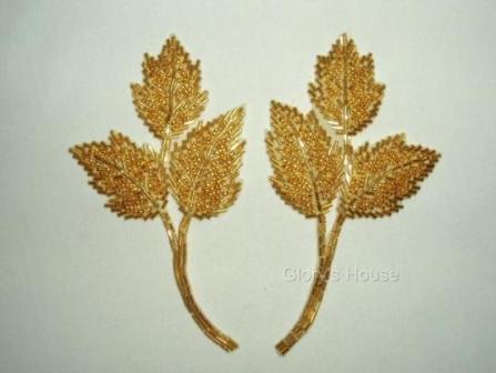 "Gold Leaf 6"" Mirror Pair Beaded Applique  K8128"