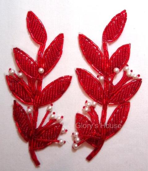 "Red Leaf Mirror Pair 5.25"" Beaded Appliques K8274"