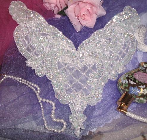 0060 Aurora Borealis Crystal AB Bodice Sequin Beaded Applique