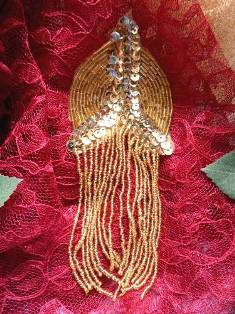 XR108 Gold Epaulet Beaded Sequin Applique