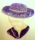 "Purple Hat Lady 7"" Sequin Beaded Applique  K8632"