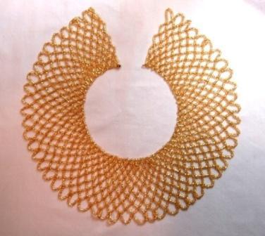 """K8103 Unique Gold Collar 9""""  Beaded Applique"""