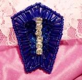 """Blue Rhinestone 2"""" Sequin Beaded Applique K1273"""