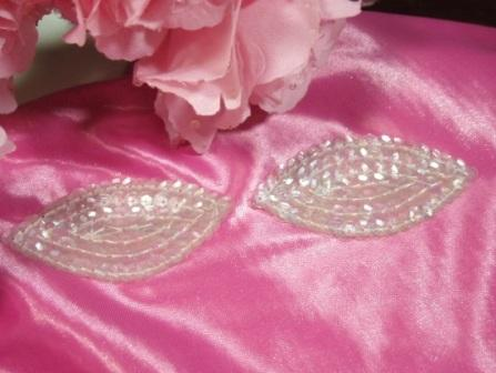 K8263  Set of ( 2 )  Crystal AB Eye Pair Sequin  Appliques  2.5""