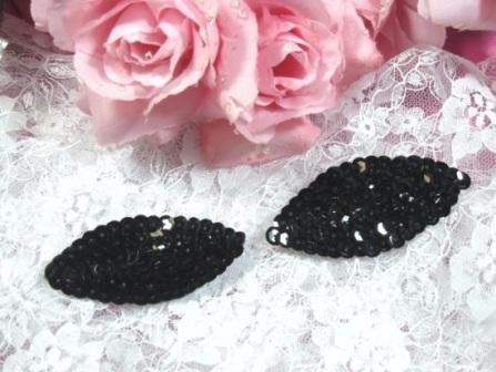 "K8263  Set of ( 2 )  Black Eye Pair Sequin  Appliques  2.5"""