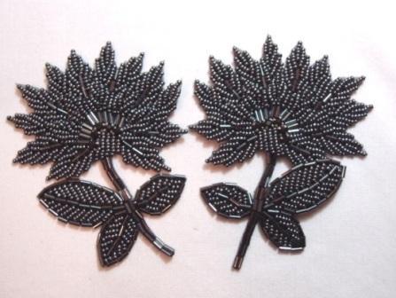 "K8273  Gunmetal Floral Mirror Pair Beaded Appliques 3.5"""