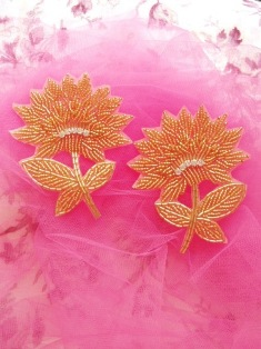 """K8273  Gold Floral Mirror Pair Beaded Appliques 3.5"""""""