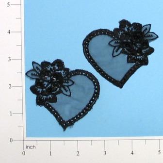 """Black Venise Lace Heart 2.75""""Mirror Pair Appliques E2704"""