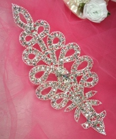 RMTS2 REDUCED Silver Crystal Clear Rhinestone Applique Embellishment 6.25""
