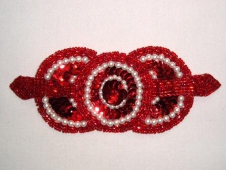 "HB6321   Red Pearl Triple Circle Hair Bow  5.25"""