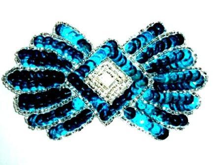 "K1249 Turquoise Motif  Sequin Beaded  3.75"""