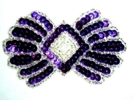 K1249 Purple Motif  Sequin Beaded  3.75""