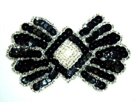 K1249 Black Silver Motif  Sequin Beaded  Applique 3.75""