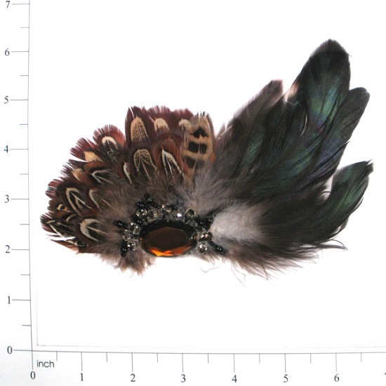 """E4154  Brown Feather Brooch with Topaz Stone 5"""""""