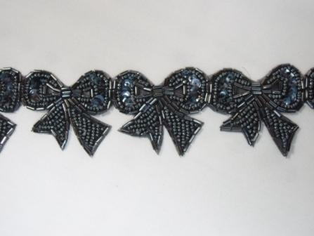 T8623  Gunmetal Bow Sequin Beaded Applique or Trim