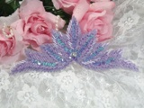 """High Quality Sequin Bugle Beaded Applique Lavender AB Crystal Rhinestone Center Clothing Patch Motif 7"""" 0084"""