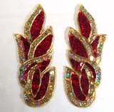"""Red Gold Cluster 5.25"""" Mirror Pair Sequin Beaded Holographic Flames Leaves Appliques 0171"""