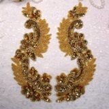 "0180 Gold Mirror Pair Sequin Beaded Appliques 8"""