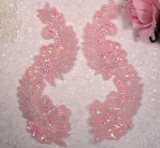 """0180 Pink Crystal AB  8""""  Mirror Pair Sequin Beaded Appliques"""