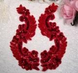 "0180 Red Mirror Pair Sequin Beaded Appliques 8"""