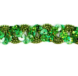 """E6176 Lime Green Holographic Ric Rac Sequin Sewing Craft Trim 5/8"""""""