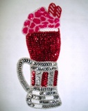 Ice Cream Float Soda Mug Cup Sequin Beaded Appliques 0191