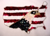 Patriotic Eagle American Flag Sequin Beaded Applique 0197