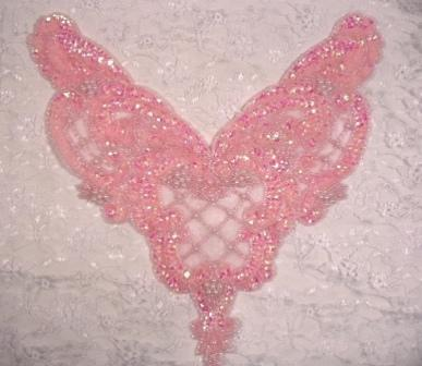 """0060 Pink Crystal AB Bodice Sequin Beaded Applique 11"""""""