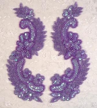 """0180 Lavender Mirror Pair Sequin Beaded Appliques 8"""""""