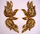Gold Mirror Pair Sequin Beaded Appliques 0202