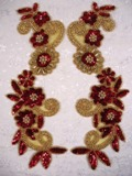 """Red Gold 10""""  Mirror Pair Sequin Beaded Appliques 0183"""