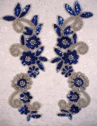 Blue & Silver  Mirror Pair Sequin Beaded Appliques 0183