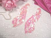 """0033 Pink Crystal AB Mirror Pair Sequin Beaded Appliques 6.25"""""""