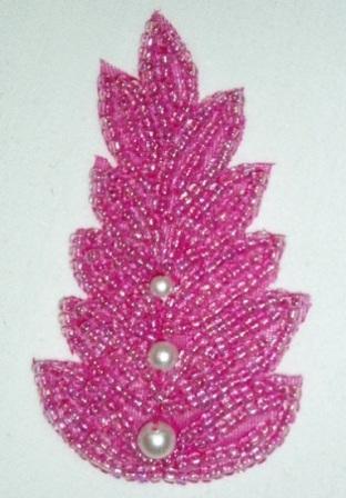 "K1397 Pink Pearl Leaf Beaded Applique 2.5"""