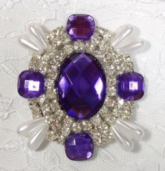 "0024 Purple Rhinestone Beaded Pearl Applique 2.5"""