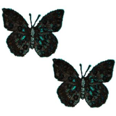 """E102 Set of ( 2 ) Black Embroidered Butterfly Appliques 1.75"""""""
