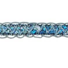 E4570  Hologram Gunmetal Braided Cord Sequin Trim