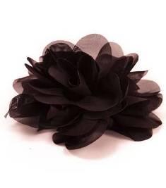 "E6042 Black Floral Brooch Clip Applique 5"""
