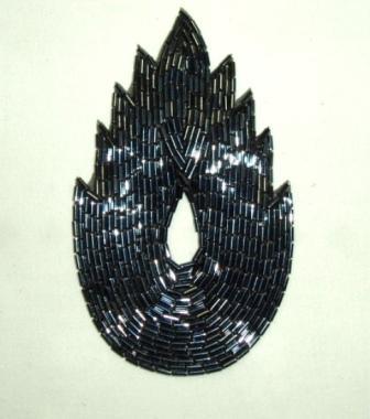 "K8899 Gunmetal Flame Beaded Applique  4.5"""