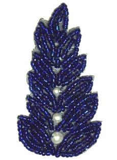 """K1397 Royal Blue Pearl Leaf Beaded Applique 2.5"""""""