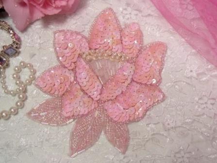 "K8108  Pink opaque  AB Rose Sequin Beaded Applique 5.25"""