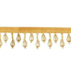 E1670 Yellow Teardrop Beaded Fringe Sewing Trim 1""