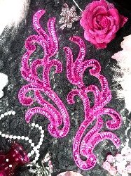"Fuchsia Sequin Appliques Mirror Pair Beaded Colthing Dance Patch 9"" XR392X"