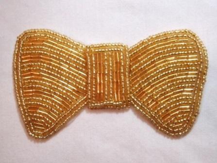 "K8137  Gold Bow Beaded Applique 3.75"""