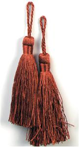 E5524  Set of Two Cranberry Tassels 3.75""