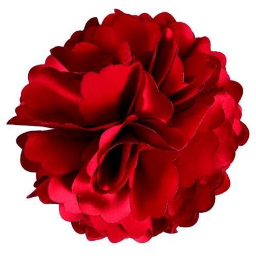 "E6049 Burgundy Red Silky Floral Brooch Hair Clip Applique 3.75"""