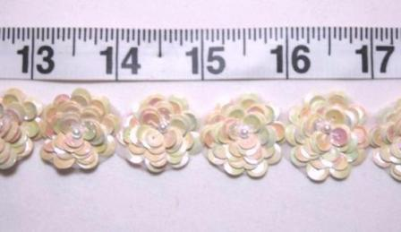 """T8900 Ivory light Yellow Ab Flower Sequin Pearl Appliques or Trim 1"""""""